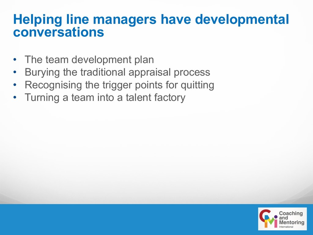 Helping line managers have developmental conver...