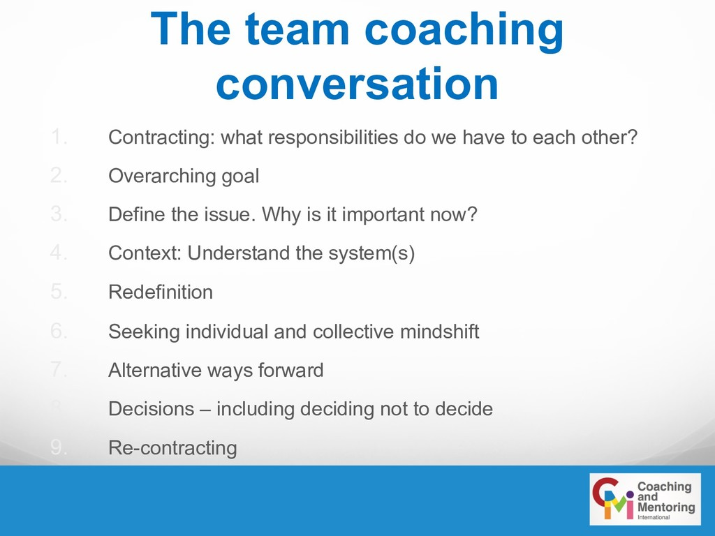 The team coaching conversation 1. Contracting: ...