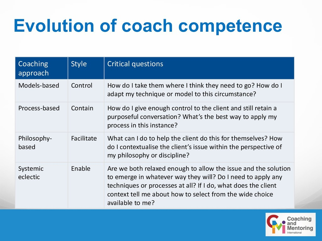 Evolution of coach competence Coaching approach...