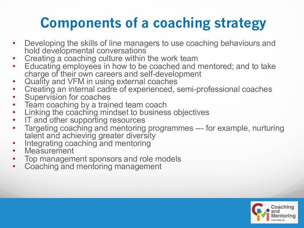 Components of a coaching strategy • Developing ...