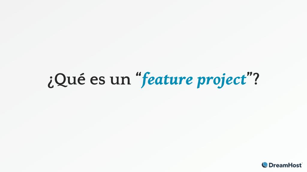 """¿Qué es un """"feature project""""?"""