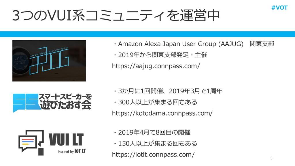 3つのVUI系コミュニティを運営中 5 ・Amazon Alexa Japan User Gr...
