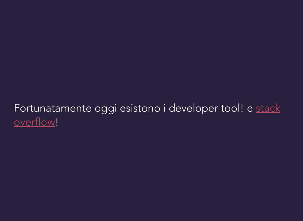 Fortunatamente oggi esistono i developer tool! ...