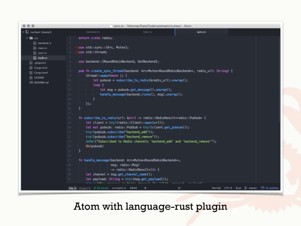 Atom with language-rust plugin