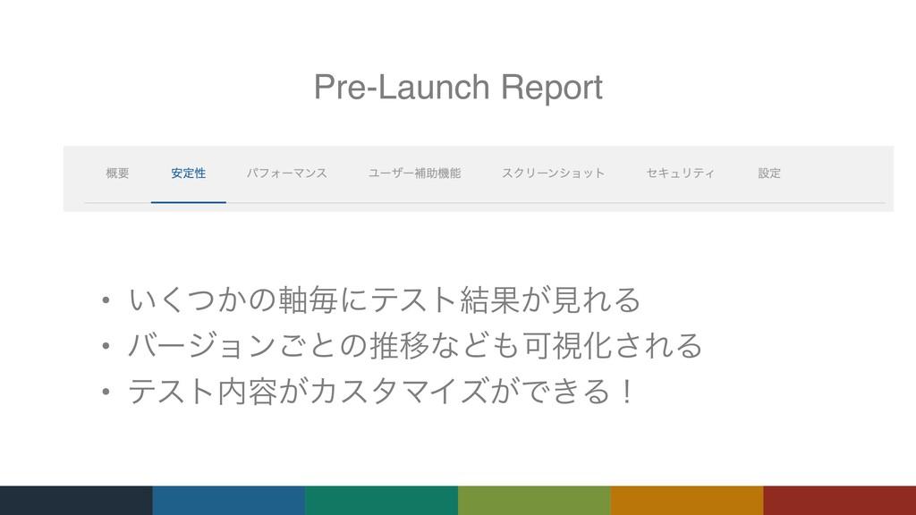 Pre-Launch Report • ͍͔ͭ͘ͷ࣠ຖʹςετ݁Ռ͕ݟΕΔ • όʔδϣϯ͝ͱ...
