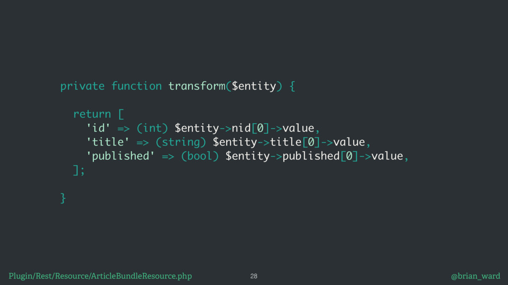 private function transform($entity) {