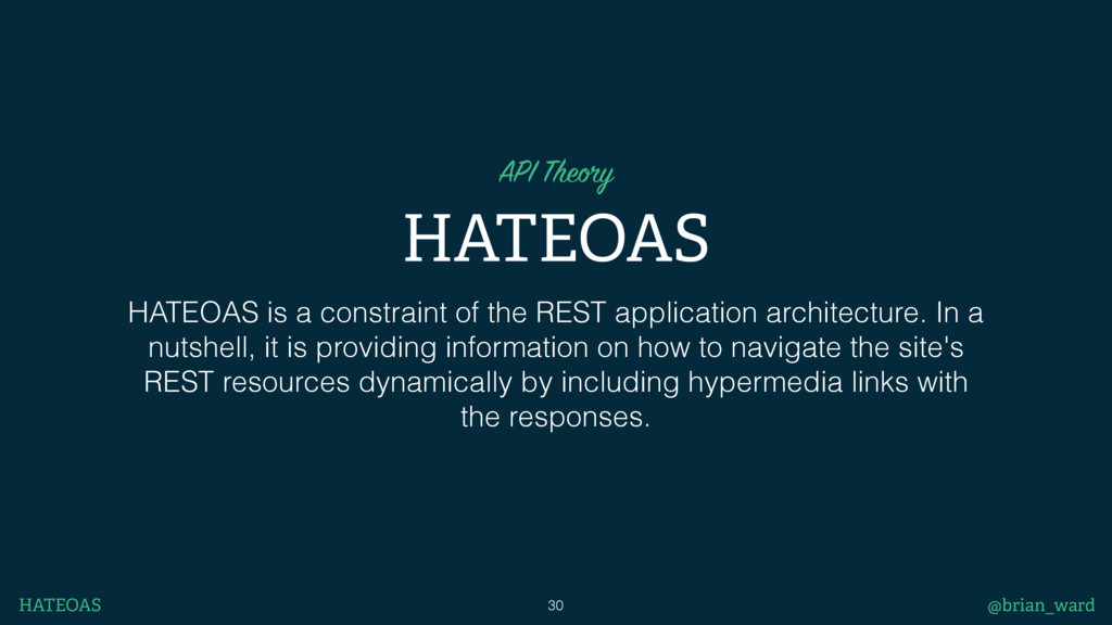HATEOAS API Theory HATEOAS is a constraint of t...