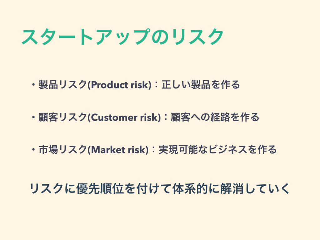 ελʔτΞοϓͷϦεΫ ɾϦεΫ(Product risk)ɿਖ਼͍͠Λ࡞Δ ! ɾސ٬...
