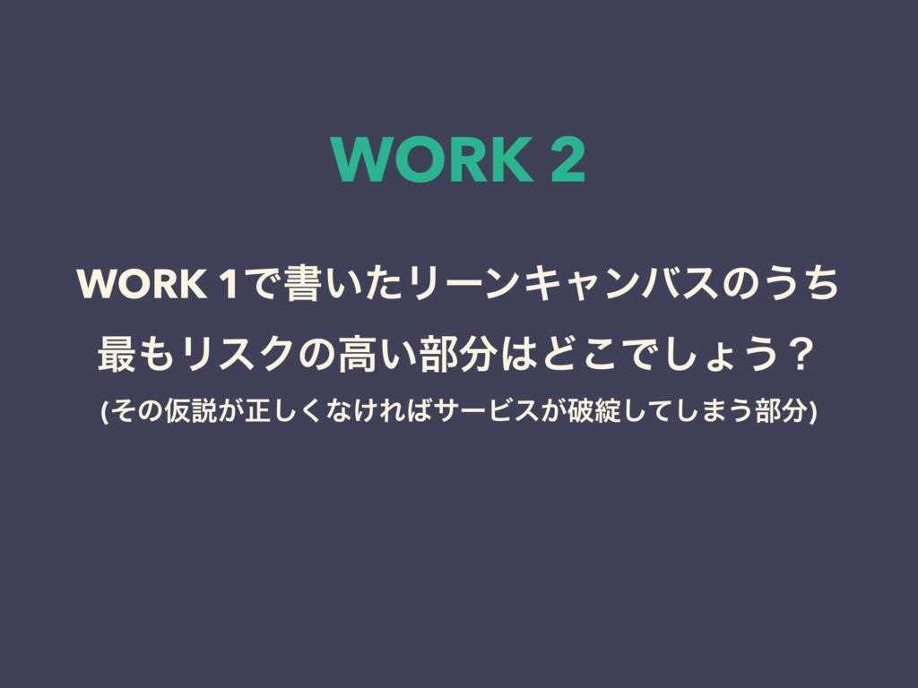 WORK 2 WORK 1Ͱॻ͍ͨϦʔϯΩϟϯόεͷ͏ͪ ࠷ϦεΫͷߴ͍෦Ͳ͜Ͱ͠ΐ͏ʁ...
