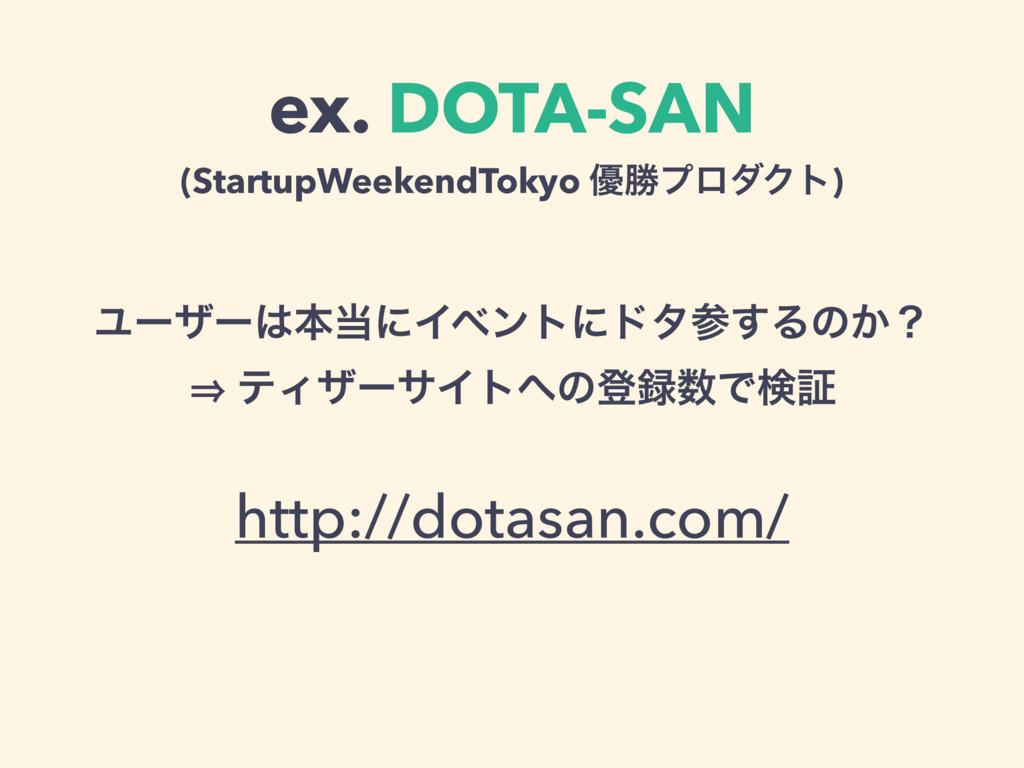 ex. DOTA-SAN (StartupWeekendTokyo ༏উϓϩμΫτ) Ϣʔβʔ...