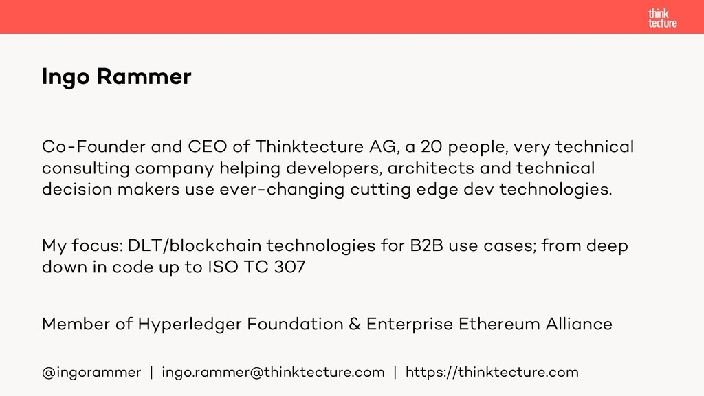 Co-Founder and CEO of Thinktecture AG, a 20 peo...