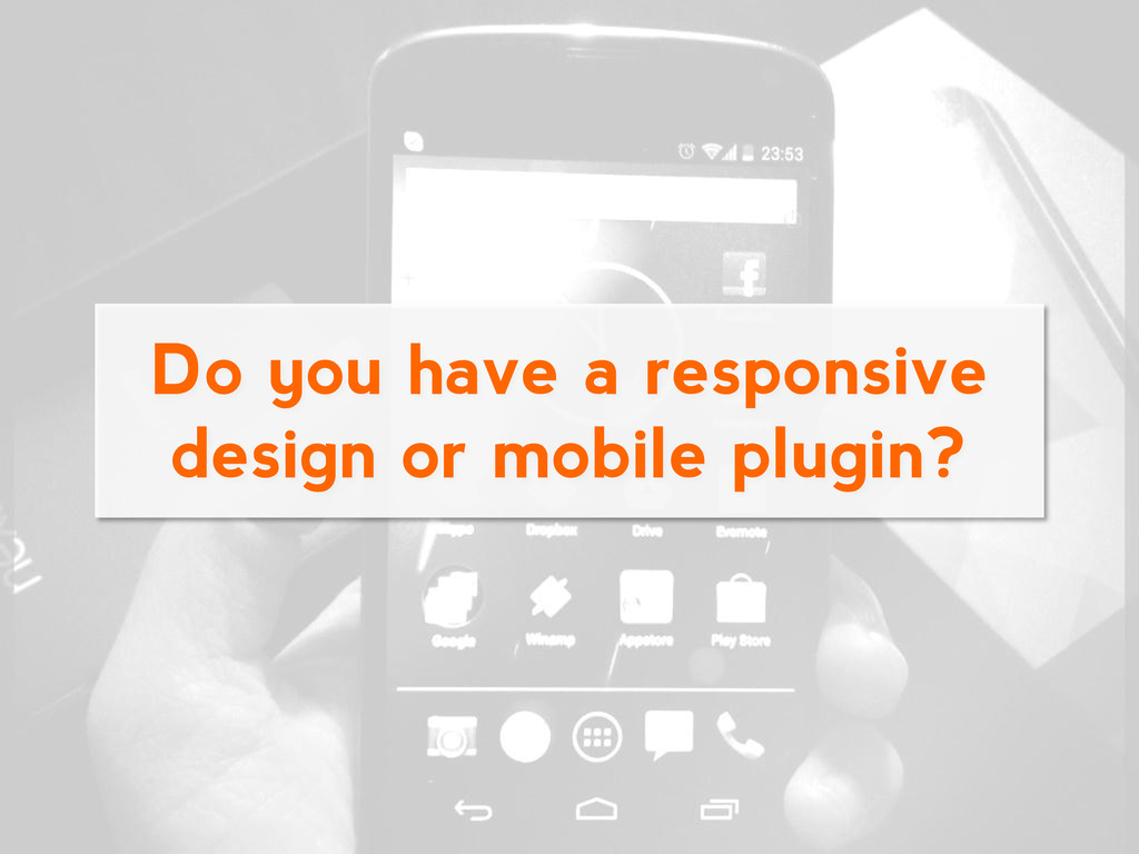Do you have a responsive design or mobile plugi...