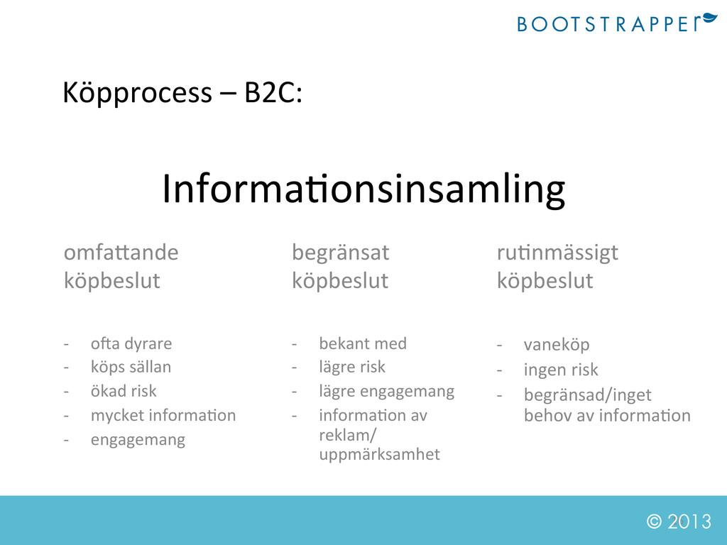 16  © 2013 Köpprocess – B2C:  Infor...