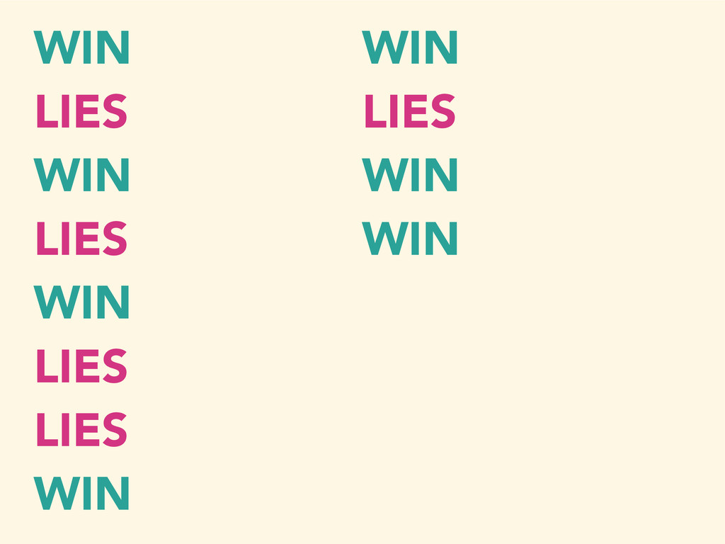 WIN LIES WIN LIES WIN LIES LIES WIN WIN LIES WI...
