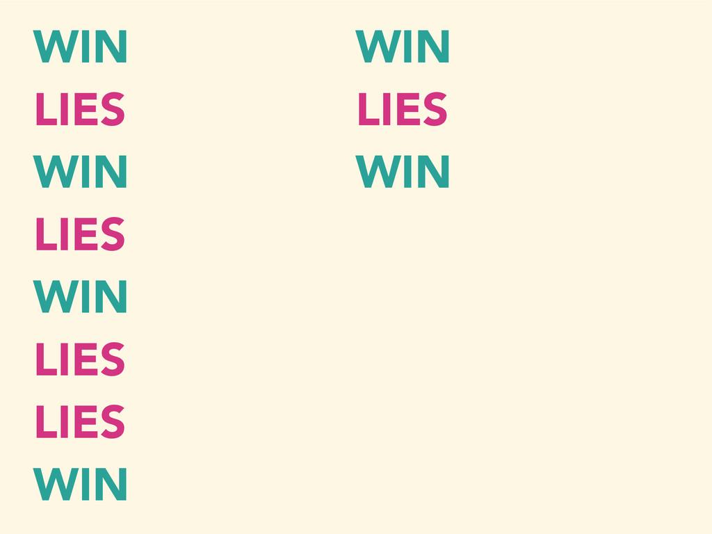 WIN LIES WIN LIES WIN LIES LIES WIN WIN LIES WIN
