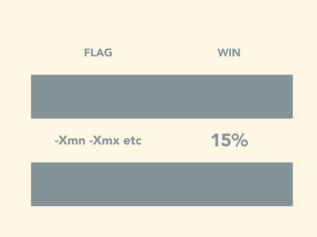 FLAG WIN -Xmn -Xmx etc 15%
