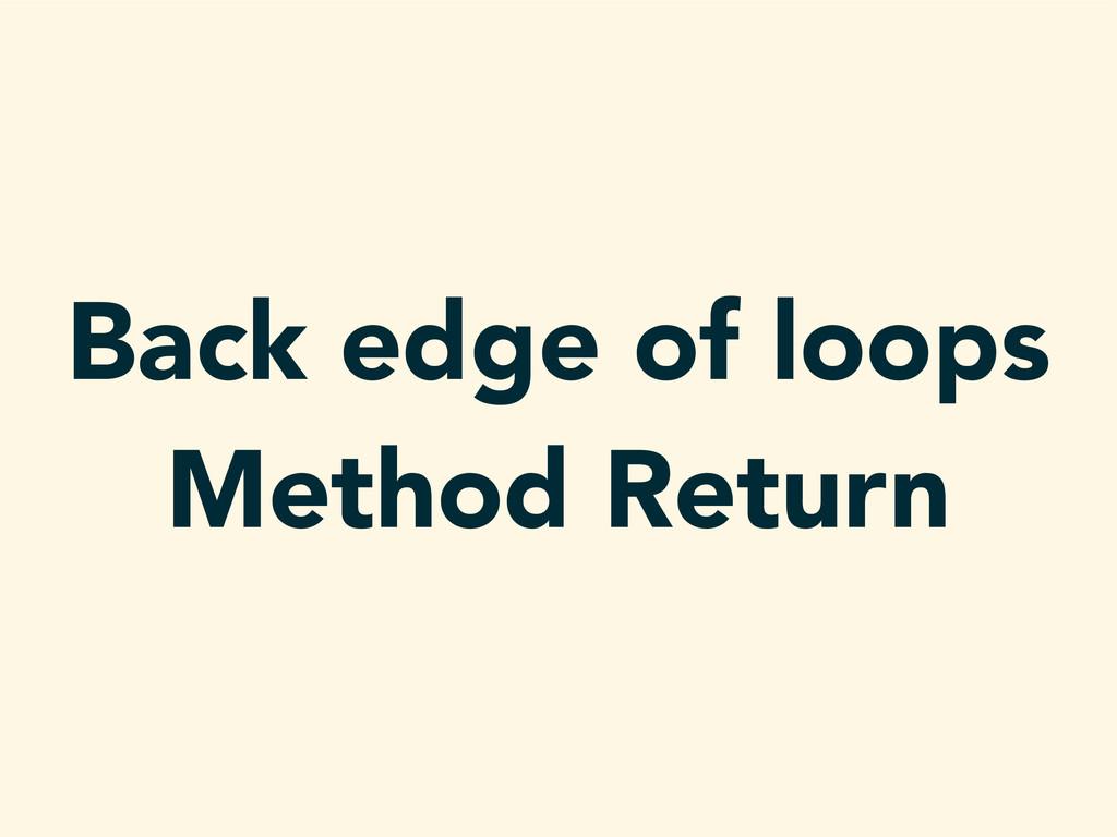 Back edge of loops Method Return