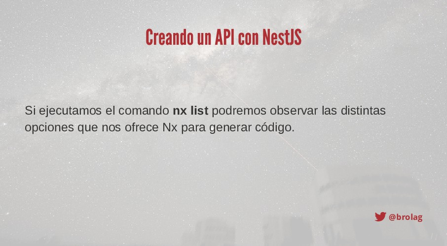@brolag Creando un API con NestJS Si ejecutamos...