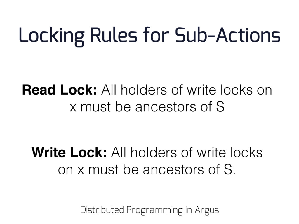 Read Lock: All holders of write locks on x must...