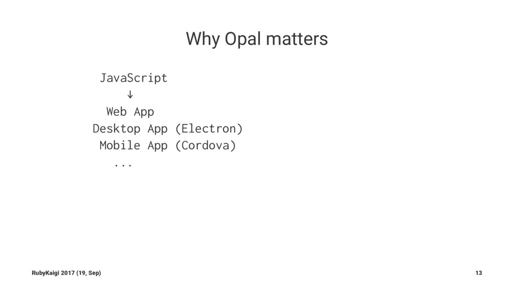 Why Opal matters JavaScript ↓ Web App Desktop A...