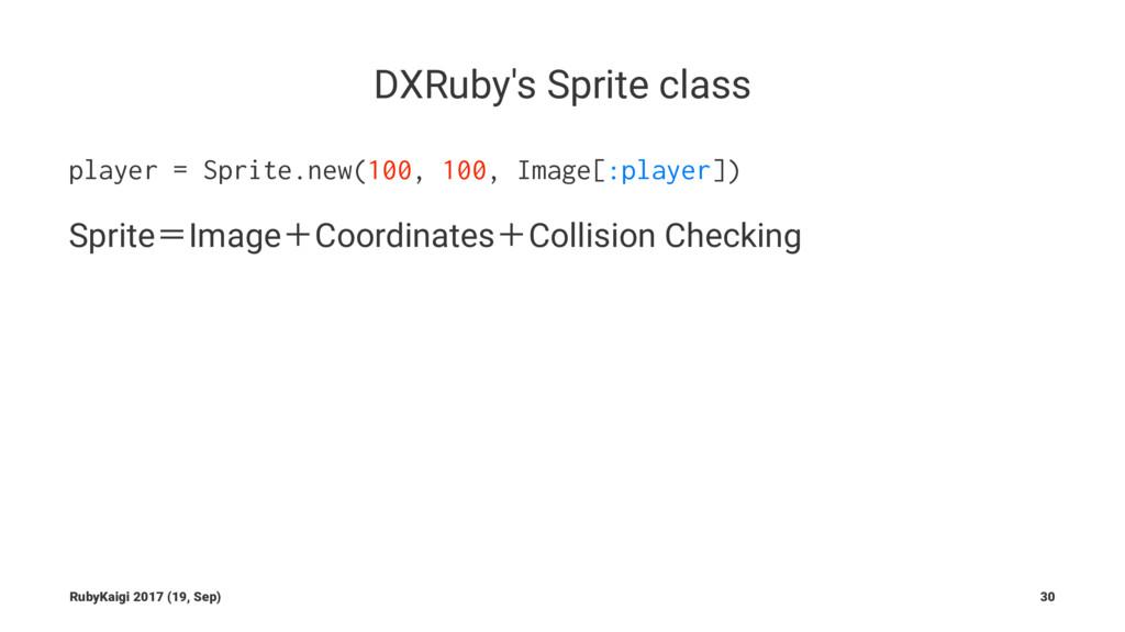 DXRuby's Sprite class player = Sprite.new(100, ...
