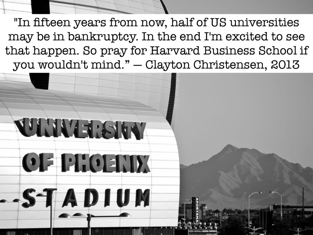 """In fifteen years from now, half of US universit..."