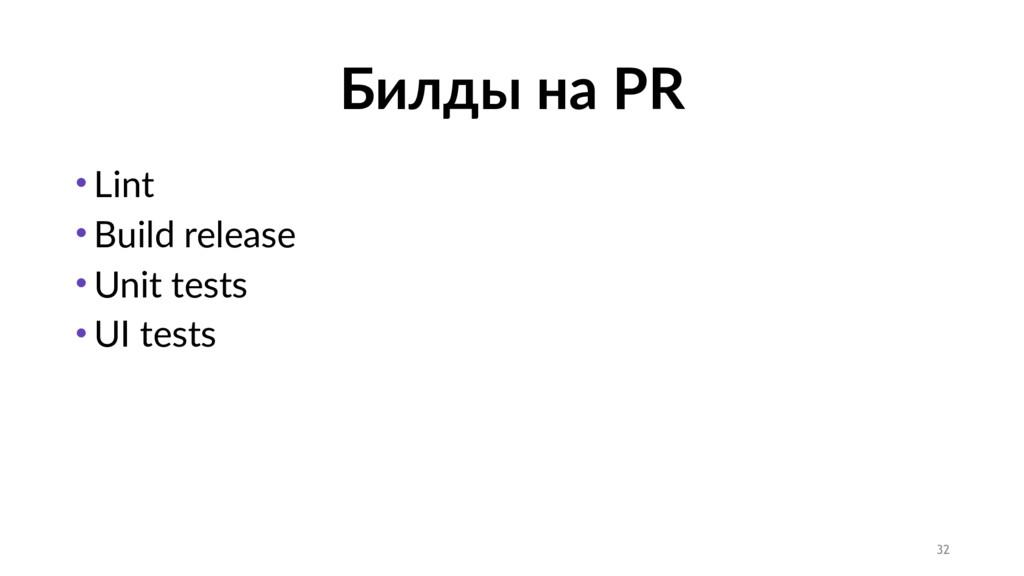 Билды на PR • Lint • Build release • Unit tests...