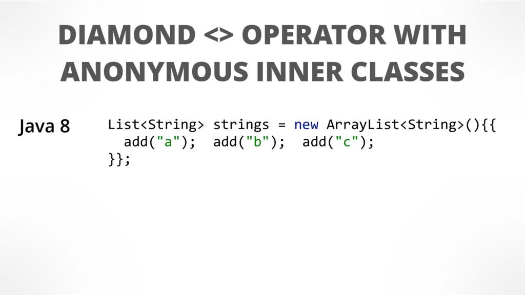 DIAMOND <> OPERATOR WITH ANONYMOUS INNER CLASSE...