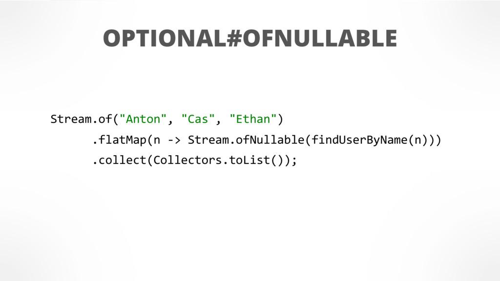 "OPTIONAL#OFNULLABLE Stream.of(""Anton"", ""Cas"", ""..."