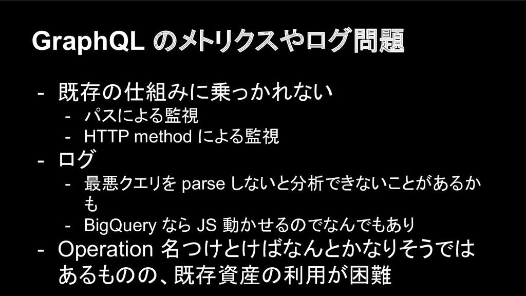 GraphQL のメトリクスやログ問題 - 既存の仕組みに乗っかれない - パスによる監視 -...