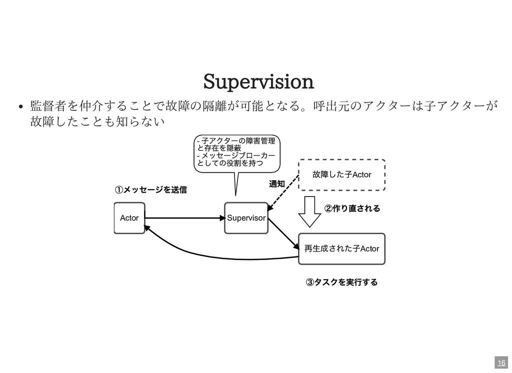 Supervision 監督者を仲介することで故障の隔離が可能となる。呼出元のアクターは⼦アク...