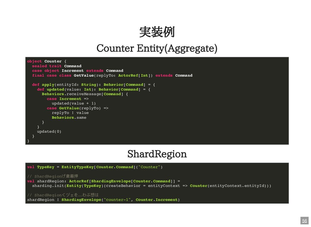 実装例 Counter Entity(Aggregate) ShardRegion objec...