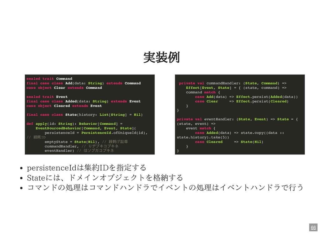 実装例 persistenceIdは集約IDを指定する Stateには、ドメインオブジェクトを...