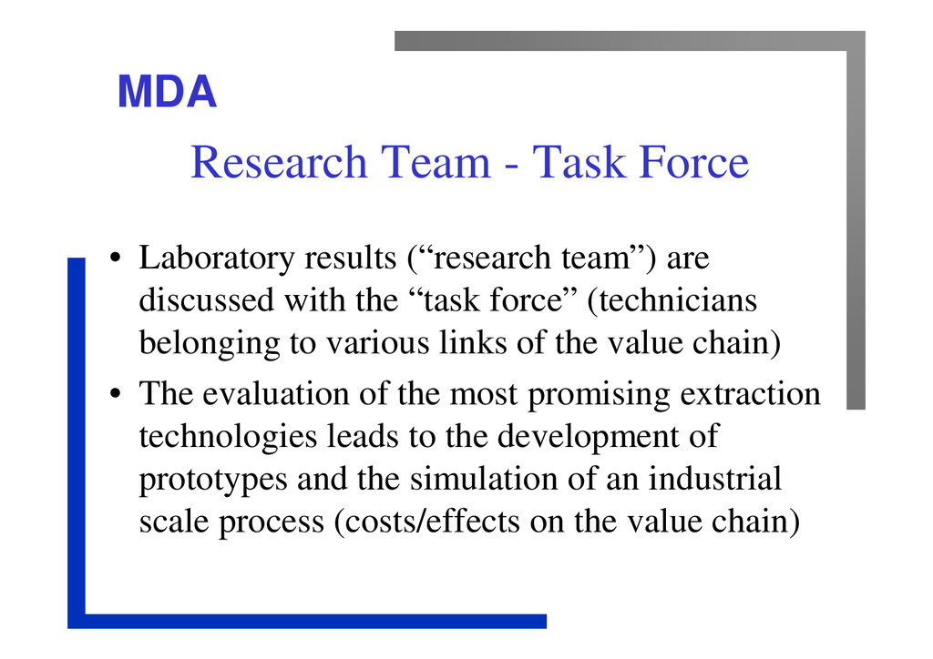 MDA Research Team - Task Force • Laboratory res...