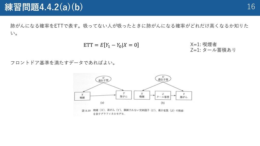 16 練習問題4.4.2(a)(b) 肺がんになる確率をETTで表す。吸ってない⼈が吸ったとき...