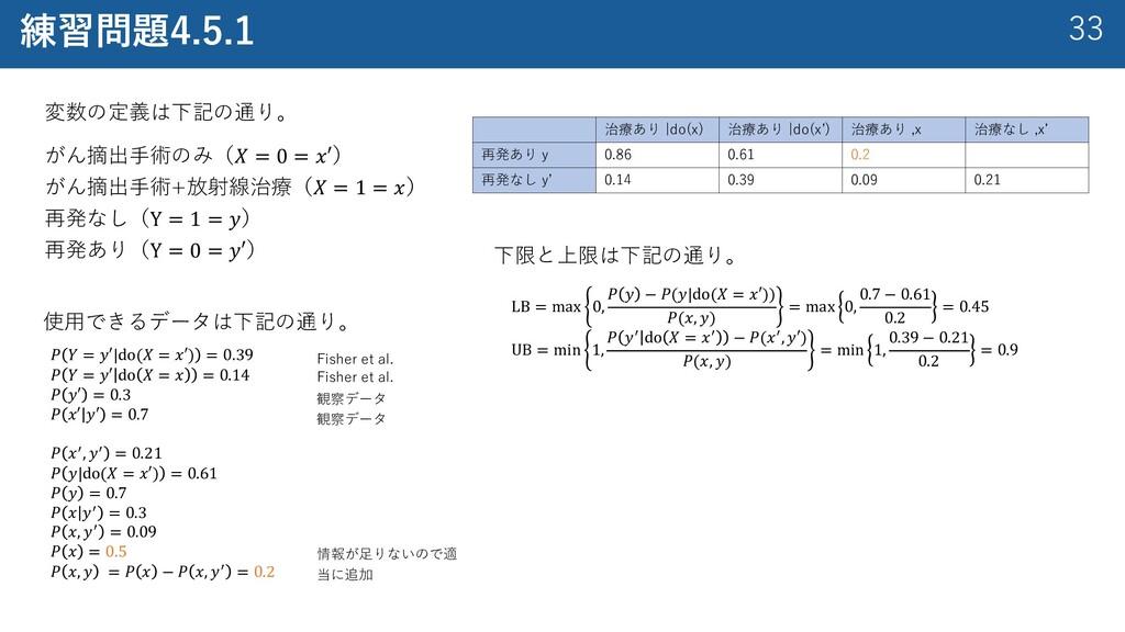 33 練習問題4.5.1 変数の定義は下記の通り。 がん摘出⼿術のみ(𝑋 = 0 = 𝑥′) ...