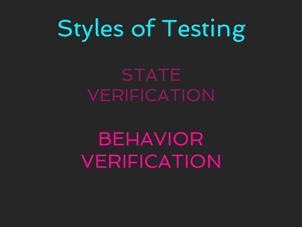 Styles of Testing STATE VERIFICATION BEHAVIOR V...