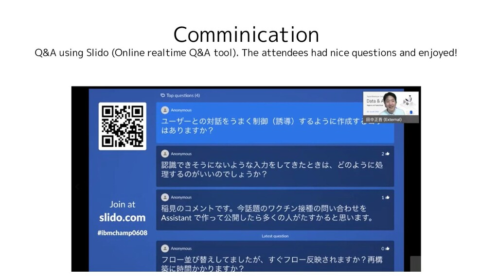 Comminication Q&A using Slido (Online realtime ...