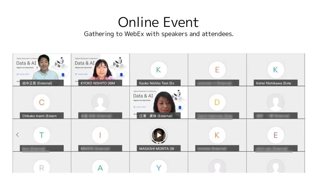 Online Event Gathering to WebEx with speakers a...