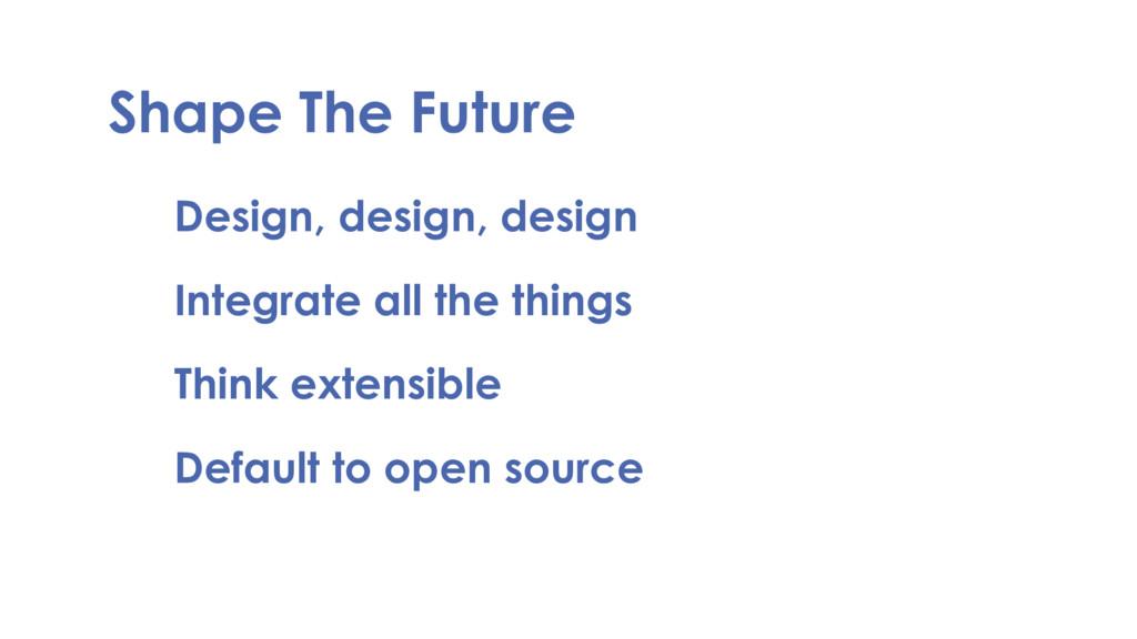 Shape The Future Design, design, design Integra...