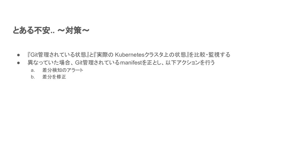 とある不安.. ~対策~ ● 『Git管理されている状態』と『実際の Kubernetesクラ...