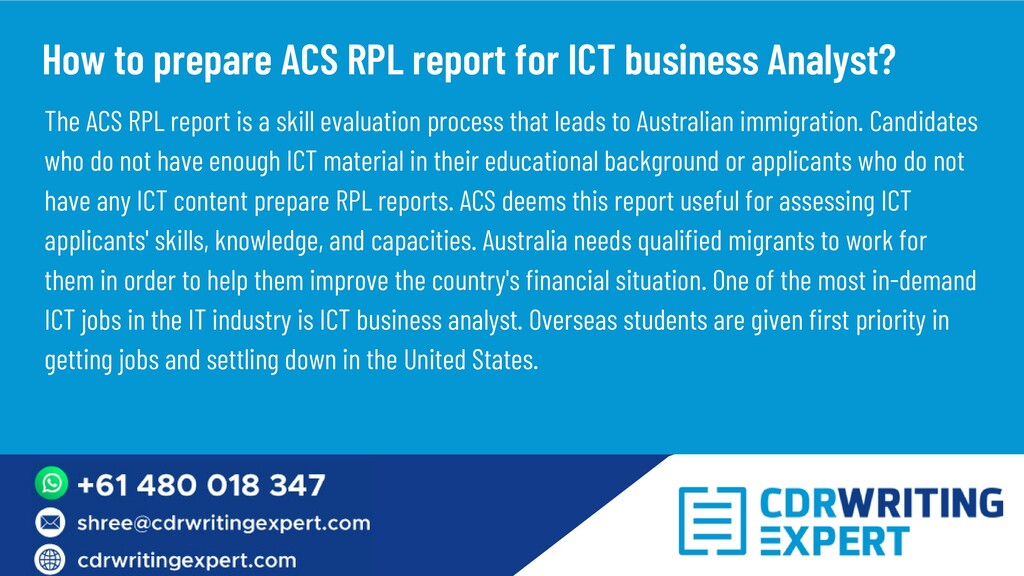 The ACS RPL report is a skill evaluation proces...