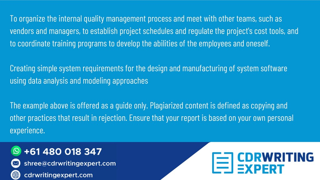 To organize the internal quality management pro...