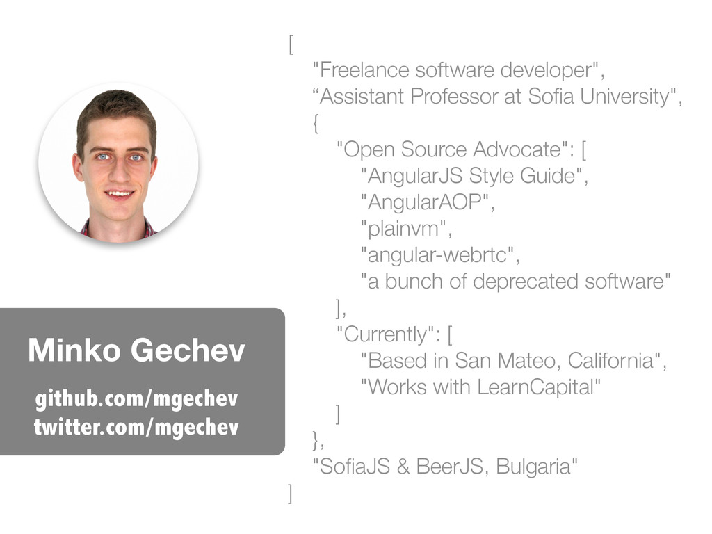 "Minko Gechev [ ""Freelance software developer"", ..."