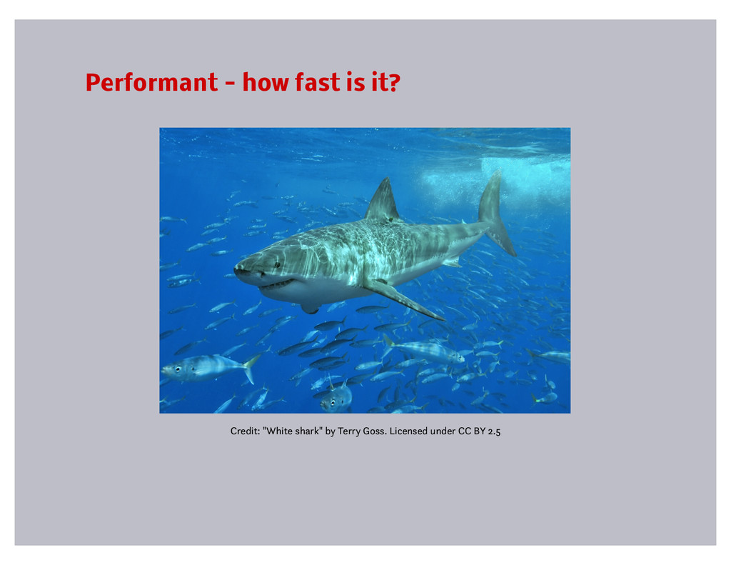 "Performant - how fast is it? Credit: ""White sha..."