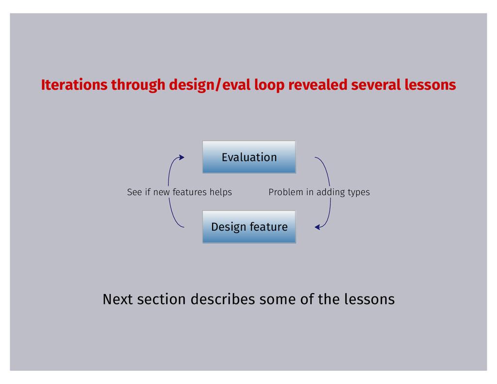 Iterations through design/eval loop revealed se...