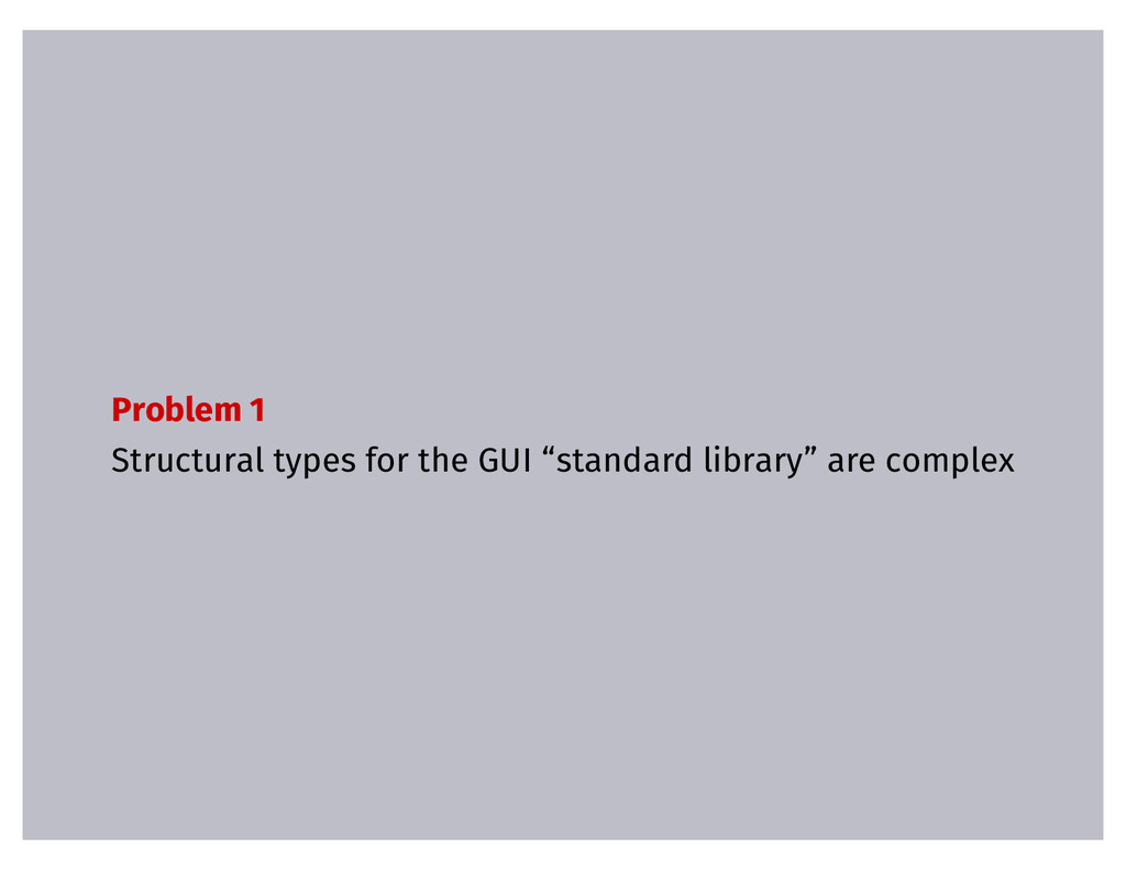 "Problem 1 Structural types for the GUI ""standar..."