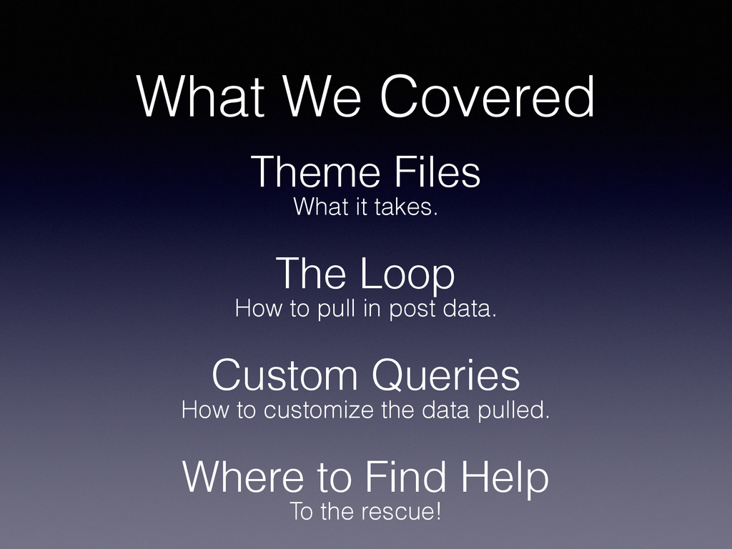 What We Covered Theme Files The Loop Custom Que...
