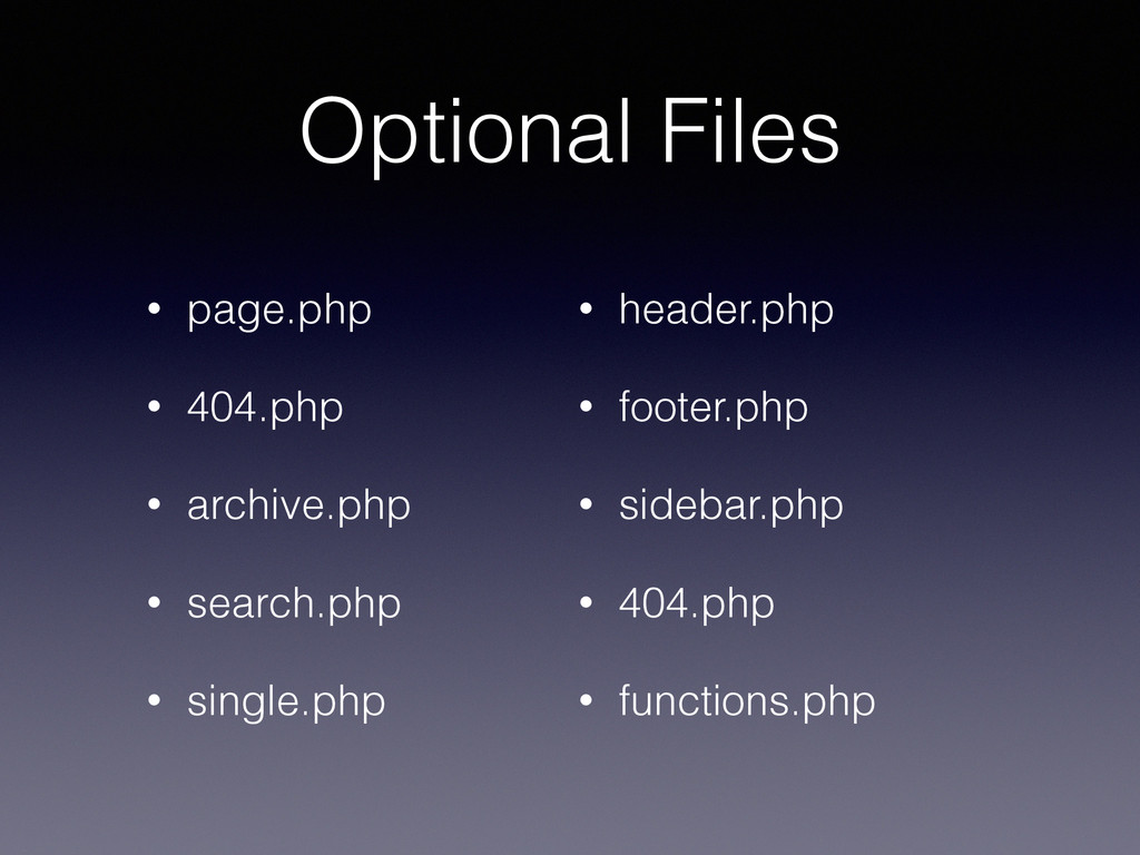 Optional Files • page.php • 404.php • archive.p...