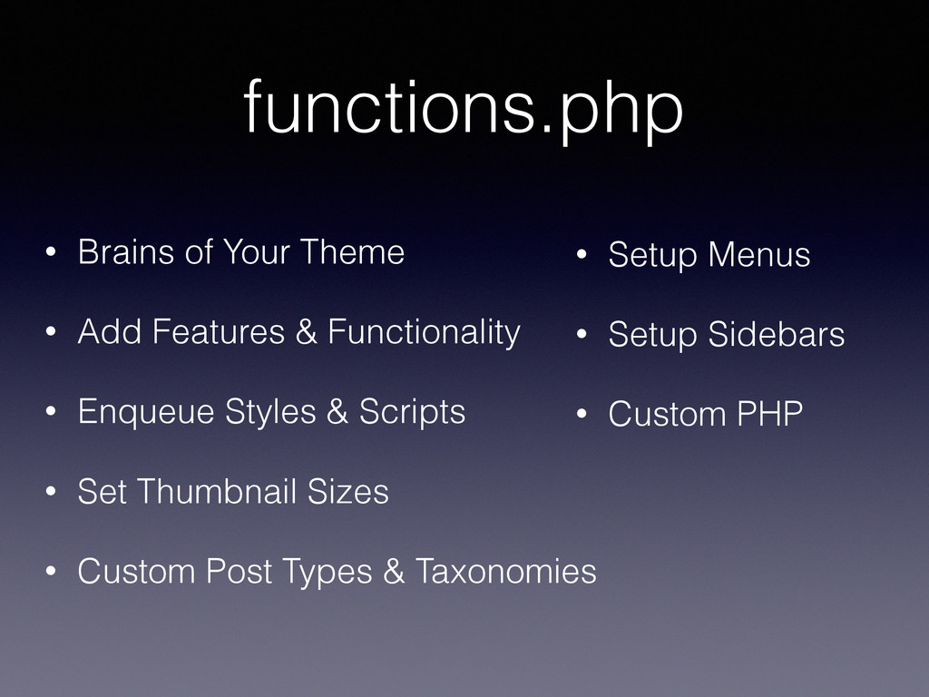 functions.php • Brains of Your Theme • Add Feat...